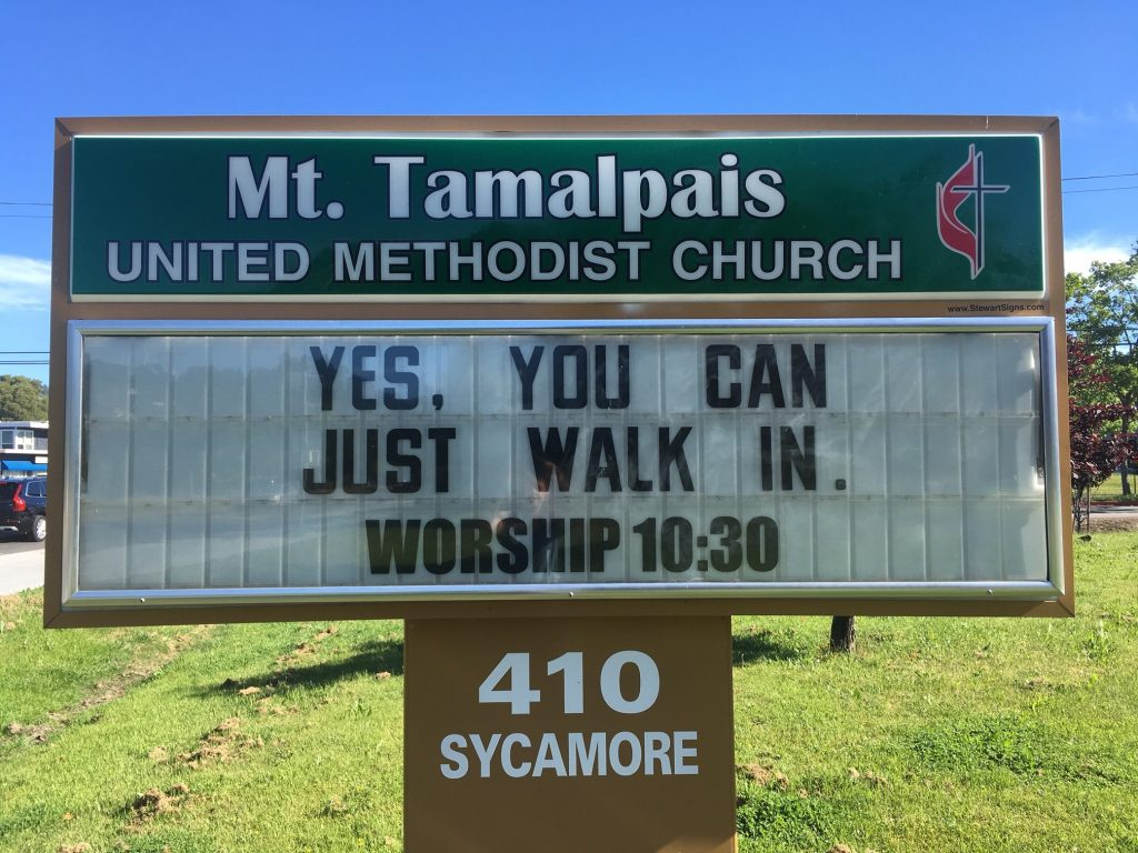 "Church sign: ""Yes, you can. Just walk in. Worship 10:30am"""