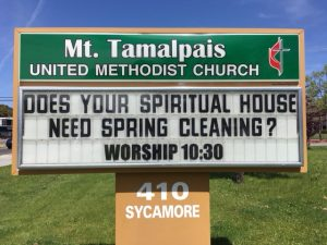 Sign Text: Does your spiritual house need spring cleaning? Worship 10:30am